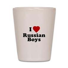 I Love Russian Boys Shot Glass