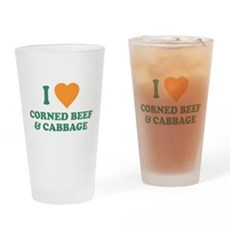 I Love Corned Beef & Cabbage Pint Glass