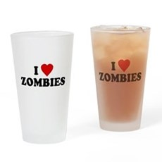 I Love [Heart] Zombies Pint Glass