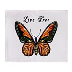Butterfly Live Free Throw Blankets