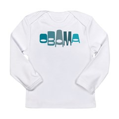 Funky Obama Oval (blue) Long Sleeve Infant T-Shirt