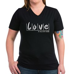 Love Is My Anti-State Women's V-Neck Dark T-Shirt