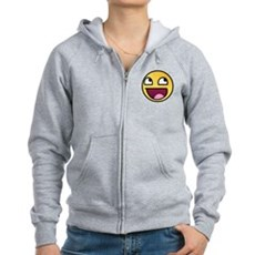 Awesome Smiley Womens Zip Hoodie