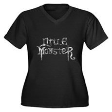 Little Monster Womens Plus Size V-Neck Dark T-Shi