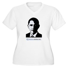 America Dislikes Obama Womens Plus Size V-Neck T-