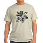 Anderson Tartan Lion Light T-Shirt - Scottish lion rampant with the Anderson clan tartan and a banner with the family name. - Availble Sizes:Small,Medium,Large,X-Large,2X-Large (+$3.00),3X-Large (+$3.00) - Availble Colors: Natural,Ash Grey,Light Blue