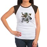 Anderson Tartan Lion Women's Cap Sleeve T-Shirt - Scottish lion rampant with the Anderson clan tartan and a banner with the family name. - Availble Sizes:S (4-6),M (8-10),L (12-14),XL (16-18),XXL (20-22) (+$3.00) - Availble Colors: Black/White,Red/White,Brown/White