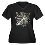 Anderson Tartan Lion Women's Plus Size V-Neck Dark - Scottish lion rampant with the Anderson clan tartan and a banner with the family name. - Availble Sizes:1 (16/18),2 (20/22),3 (24/26),4 (28/30),5 (32/34) - Availble Colors: Black,Navy