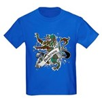 Anderson Tartan Lion Kids Dark T-Shirt - Scottish lion rampant with the Anderson clan tartan and a banner with the family name. - Availble Sizes:Kids X-Small,Kids Small,Kids Medium,Kids Large,Kids X-Large - Availble Colors: Black,Navy,Royal,Red,Purple,Green Camo,Black/White Camo,Pink Camo