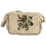 Anderson Tartan Lion Messenger Bag - Scottish lion rampant with the Anderson clan tartan and a banner with the family name. - Availble Colors: Khaki