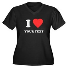 Custom I Heart Womens Plus Size V-Neck Dark T-Shi