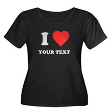 Custom I Heart Womens Plus Size Scoop Neck Dark T