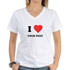 Custom I Heart Womens V-Neck T-Shirt