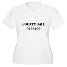 County Jail Costume Womens Plus Size V-Neck T-Shi