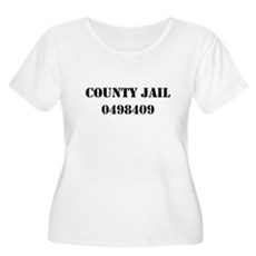 County Jail Costume Womens Plus Size Scoop Neck T
