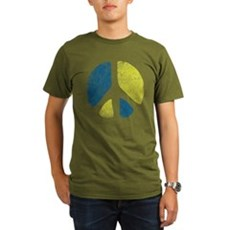 Vintage Peace Sign Organic Mens Dark T-Shirt