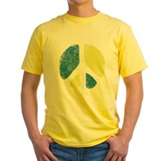 Vintage Peace Sign Yellow T-Shirt