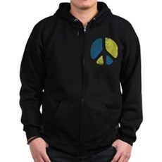 Vintage Peace Sign Zip Dark Hoodie