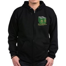 Beer Breakfast of Champions Zip Dark Hoodie