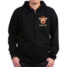 Sock Monkey Going Ape Zip Dark Hoodie
