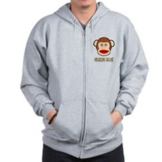 Sock Monkey Going Ape Zip Hoodie