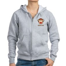 Sock Monkey Going Ape Womens Zip Hoodie