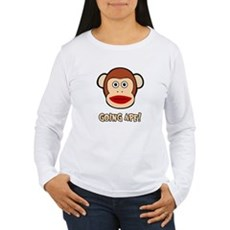Sock Monkey Going Ape Womens Long Sleeve T-Shirt