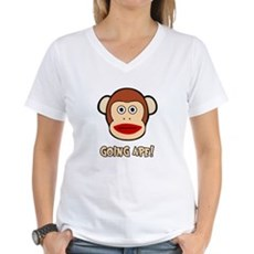 Sock Monkey Going Ape Womens V-Neck T-Shirt