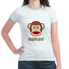 Sock Monkey Going Ape Jr Ringer T-Shirt
