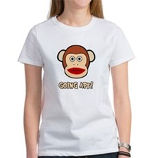 Sock Monkey Going Ape Womens T-Shirt