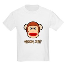 Sock Monkey Going Ape Kids Light T-Shirt