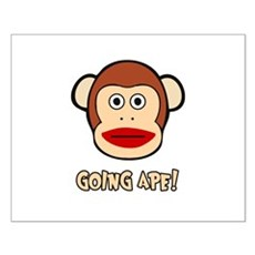 Sock Monkey Going Ape Small Poster