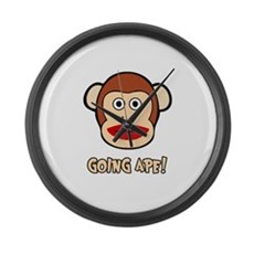 Sock Monkey Going Ape Large Wall Clock