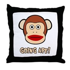 Sock Monkey Going Ape Throw Pillow