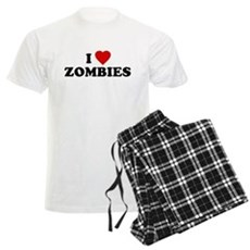 I Love [Heart] Zombies Mens Light Pajamas