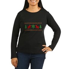 Ugly Christmas Sweater Womens Long Sleeve Dark T-
