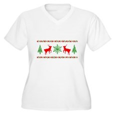 Ugly Christmas Sweater Womens Plus Size V-Neck T-