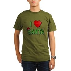 I Love Santa Organic Mens Dark T-Shirt