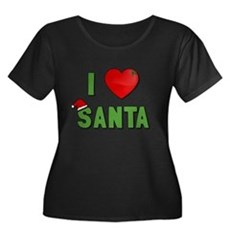 I Love Santa Womens Plus Size Scoop Neck Dark T-S