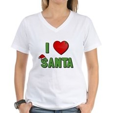 I Love Santa Womens V-Neck T-Shirt