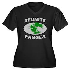 Reunite Pangea Women's Plus Size V-Neck Dark T-Shi