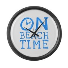 On Beach Time Large Wall Clock