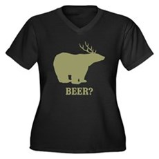 Beer Deer Bear Womens Plus Size V-Neck Dark T-Shi