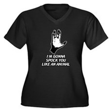 Im Gonna Spock You Womens Plus Size V-Neck Dark T