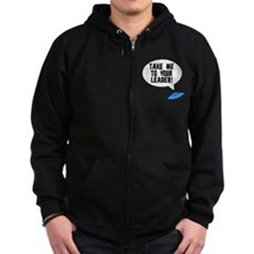 Take Me To Your Leader Zip Dark Hoodie
