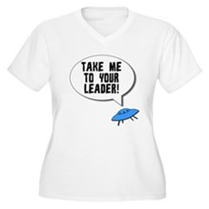 Take Me To Your Leader Womens Plus Size V-Neck T-