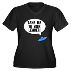 Take Me To Your Leader Womens Plus Size V-Neck Da