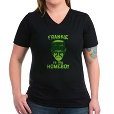 Frankie Is My Homeboy Womens V-Neck T-Shirt
