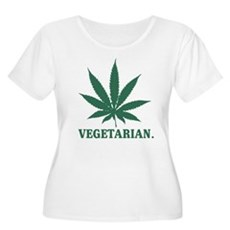 Vegetarian Cannabis Womens Plus Size Scoop Neck T