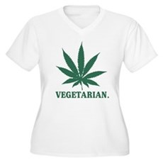 Vegetarian Cannabis Womens Plus Size V-Neck T-Shi